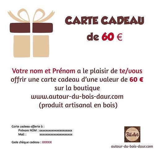 Carte Cadeau de 60 €
