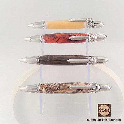 Mécanisme stylo EXCALIBUR plaquage façon étain patiné- stylo en bois ou résine