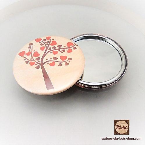Miroir de sac collection Arbre et Coeurs façon marqueterie de placage bois