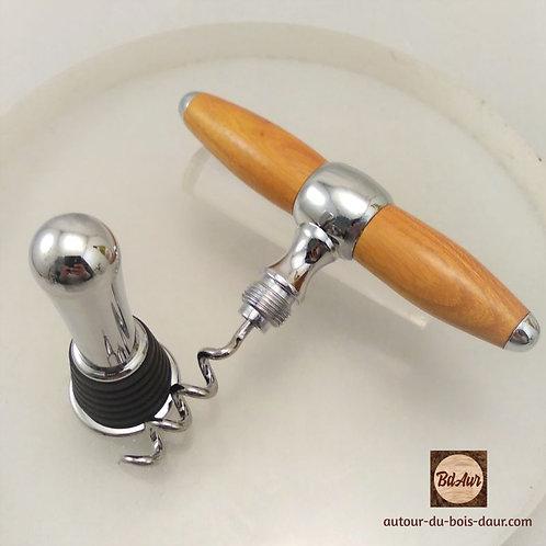 2-en-1 Bouchon/ tire-bouchon en Oranger des Osages (bois exotique TF)