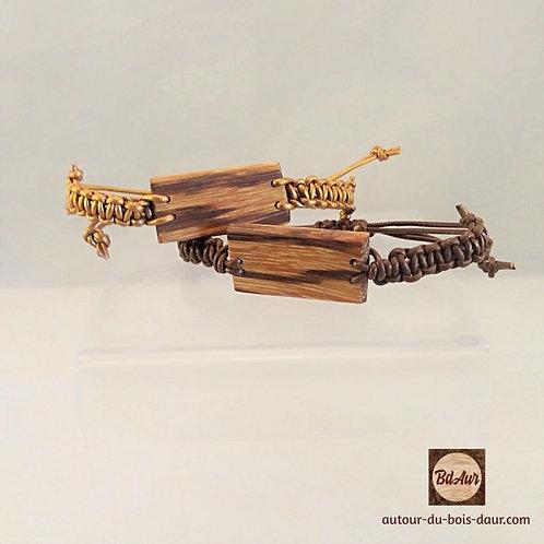 Bracelet perle plate en bois et macramé cuir -FICHE PRODUIT TEMPORAIRE