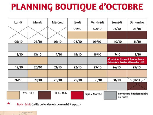 OCTOBRE 2020 : horaires de l'atelier-boutique