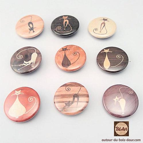 Trio de Badges épingle collection Chat façon marqueterie de placage bois