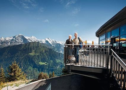 Schnige Platte cogwheel train up the mountain to a restaurant, hikes, alpine garden and hotel