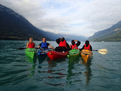 Sea kayaking and canoeing trips guided or unguided, hire on Lake Brienz