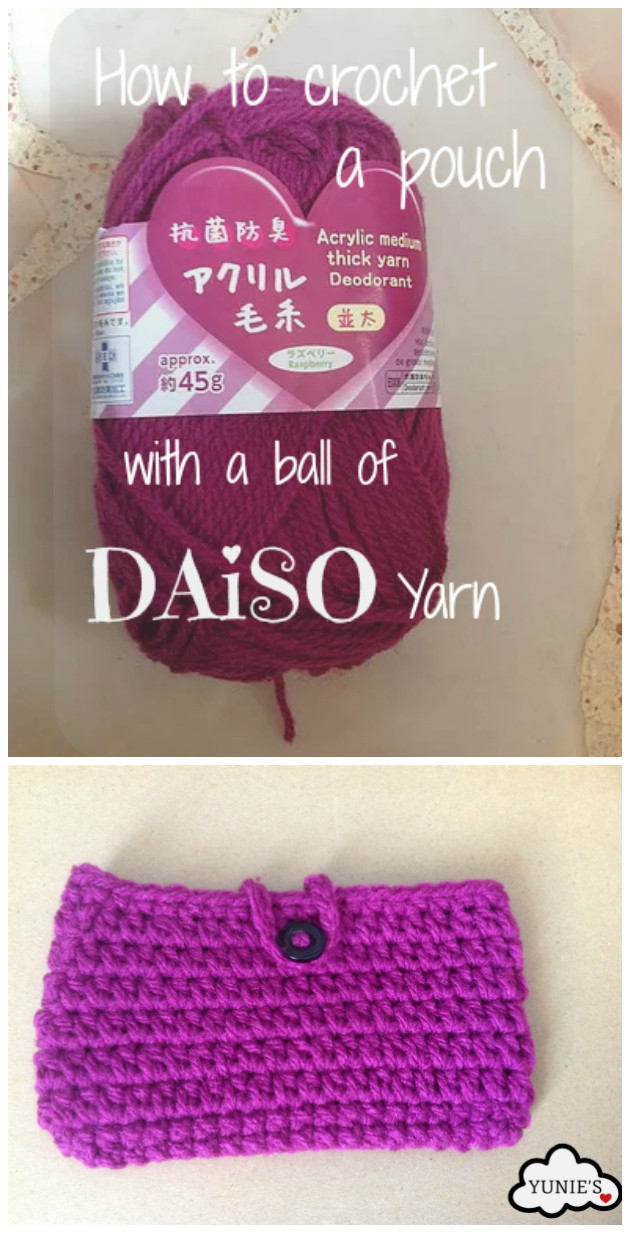 how to crochet a pouch with a ball of daiso yarn