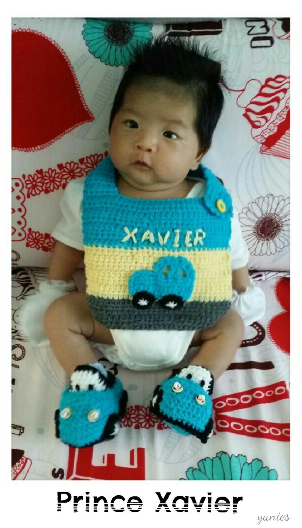 Prince Xavier Yunies Crochet car booties and bib