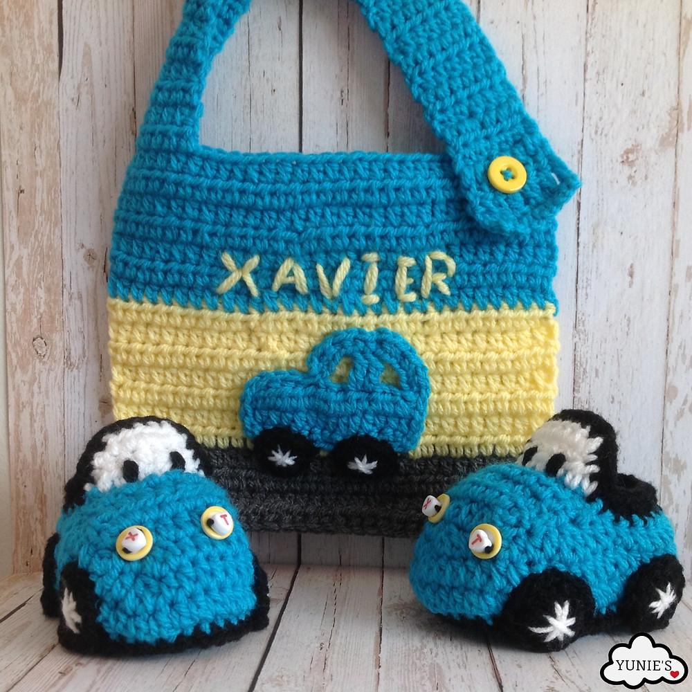 Yunies Car booties and bib set Crochet .