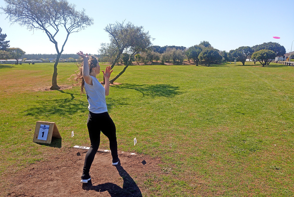 Michelle Nicholls from Timaru with a nice follow through on hole 1