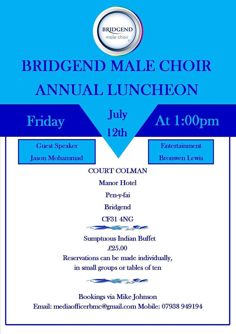 Bridgend Male Choir annual luncheon