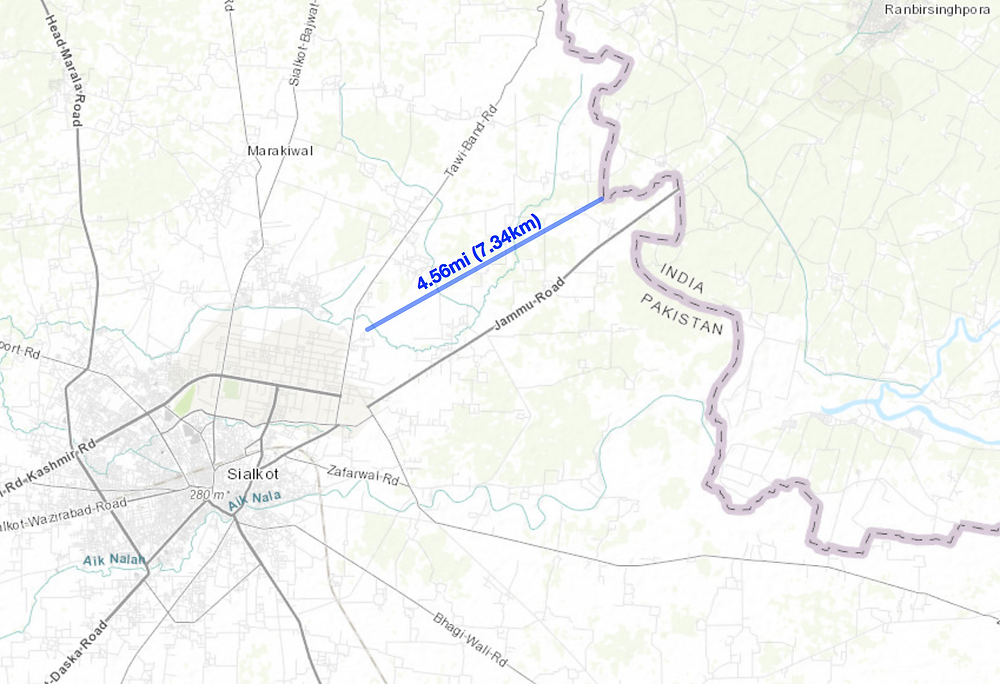 Sialkot Jammu Border Distance (click on map to see larger map)