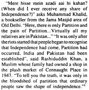 From Gyanendra Pandey's Partition and Independence in Delhi: 1947-48