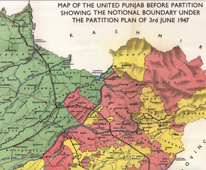 Notional Punjab Boundary outlined in June 3 1947
