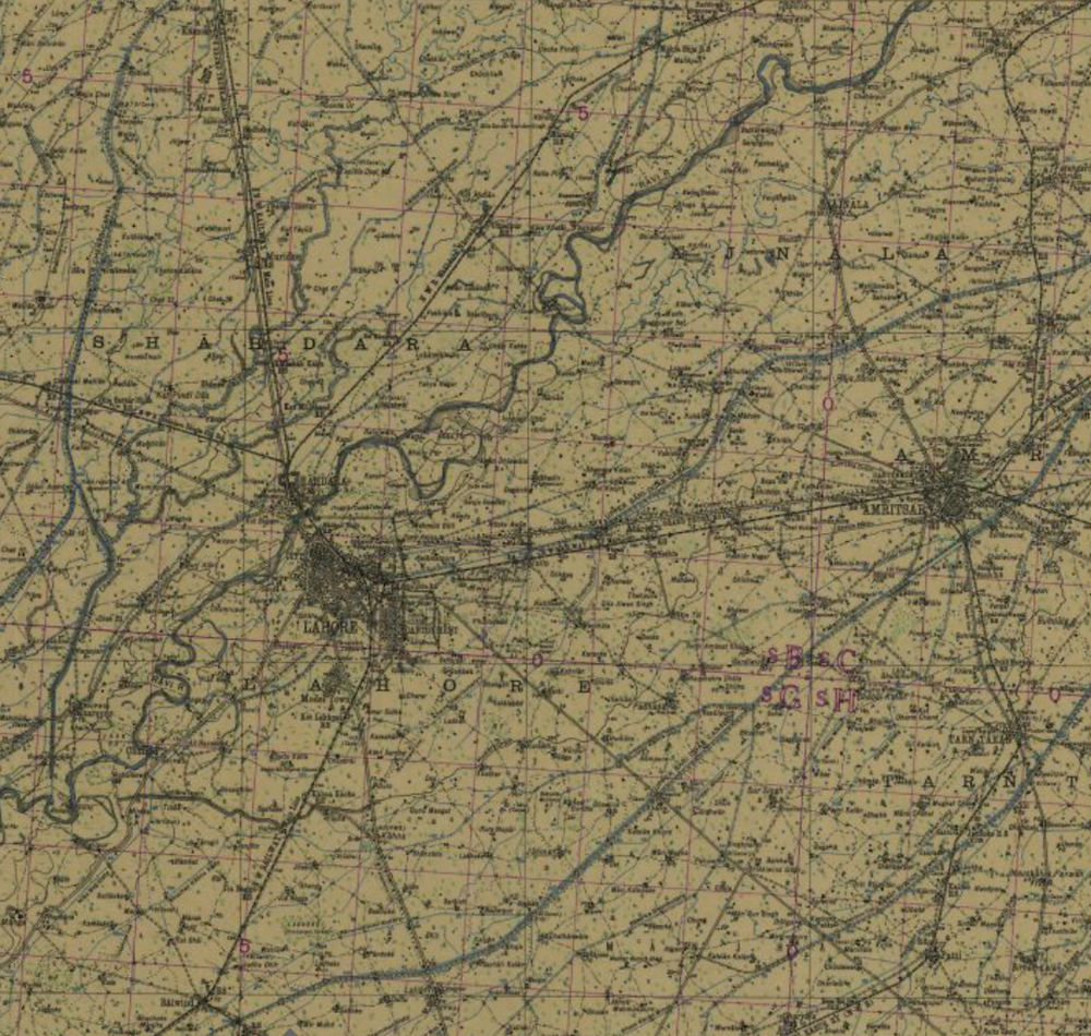 Lahore Amritsar 1943 pre partition Punjab map