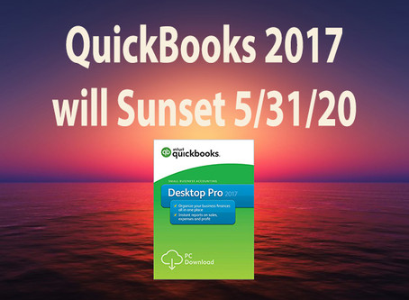 QuickBooks 2017 to Sunset May 31st