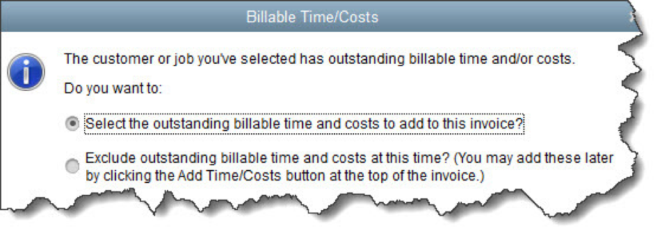 QuickBooks Billable Time