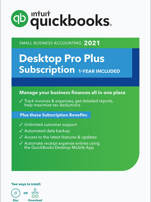 QuickBooks Desktop Pro PLUS 2021 - Single User, Boxed or Download