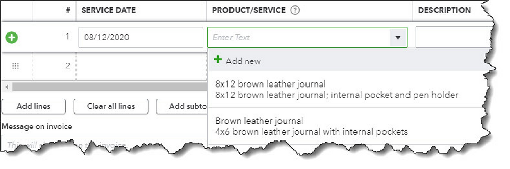 Product records in QuickBooks