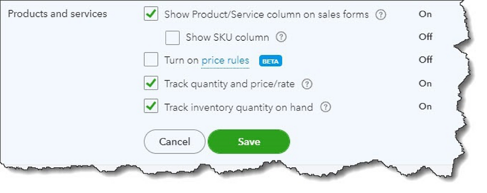 Product and Service records in QuickBooks Online
