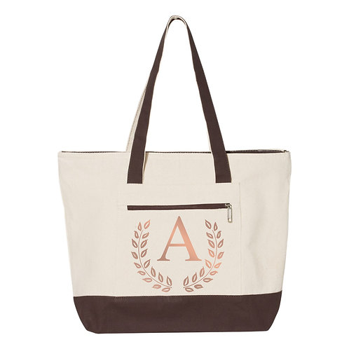 Monogram Tote Bags - Natural/Chocolate - 100% Cotton Canvas