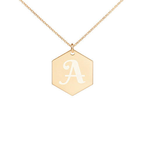 INITIAL LETTER Engraved Hexagon Necklace