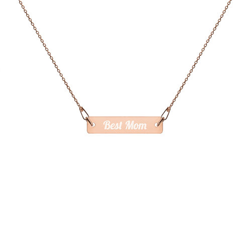 BEST MOM Engraved Bar Chain Necklace