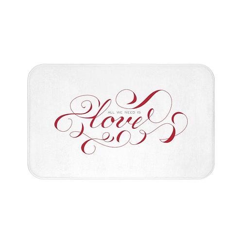Red LOVE Bath Mat, Red Calligraphy Script Mat, Bathroom Decor