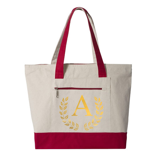 Monogram Tote Bags - Natural/Red - 100% Cotton Canvas