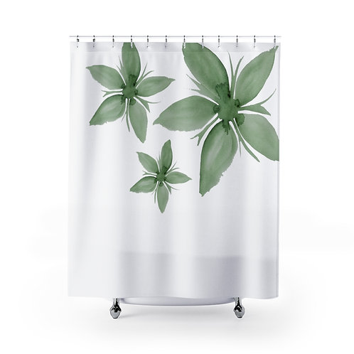 Green Watercolor Shower Curtain, Bathroom Decor