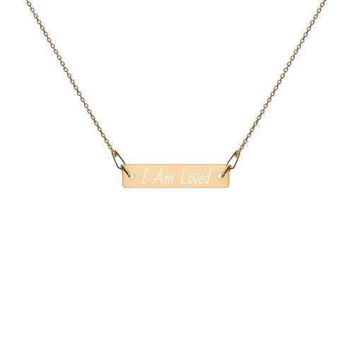 I AM LOVED Engraved Bar Chain Necklace