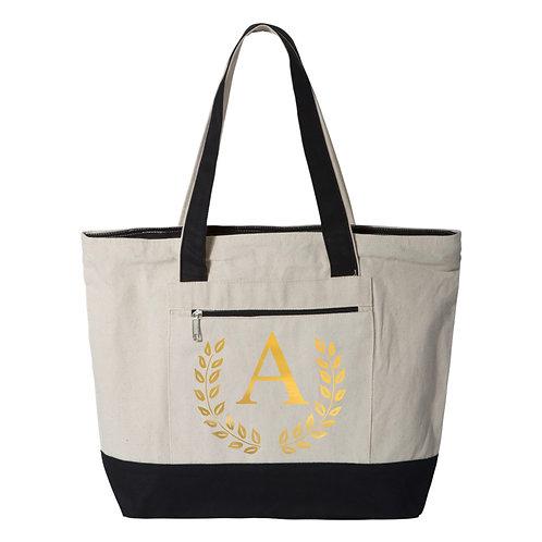 Monogram Tote Bags - Natural/Black - 100% Cotton Canvas