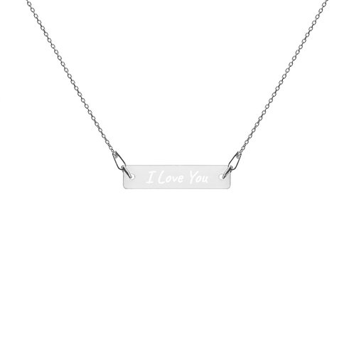 I LOVE YOU Engraved Bar Chain Necklace