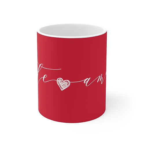 TE AMO Red Mug, Coffee Mug Gift, Valentine's Day Mug in Portuguese