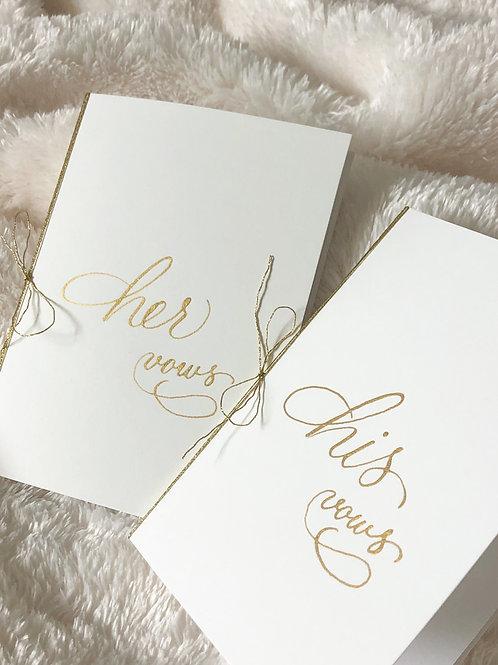 Handwritten Wedding Vows Books, Set of 2 Books, Calligraphy