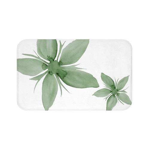 Green Watercolor Flower Bath Mat, Bathroom Decor