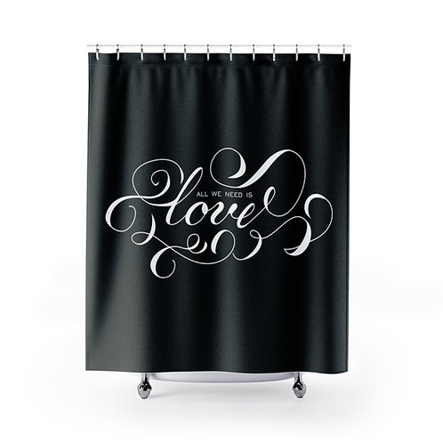 LOVE Shower Curtain, White Calligraphy Script Curtain, Bathroom Decor