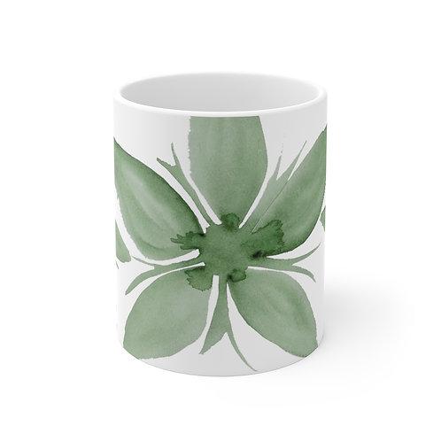 Green Watercolor Flower Mug