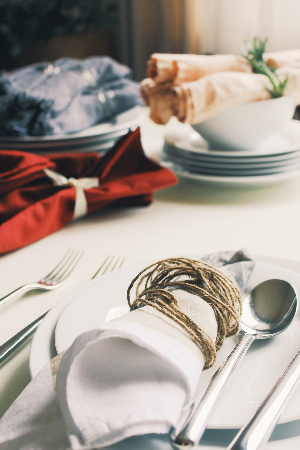 Handmade napkin rings made from twine.