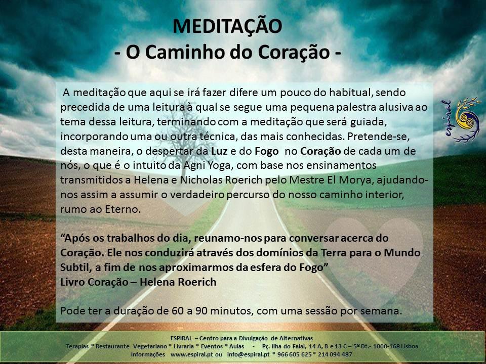 Meditação - O Caminho do Coração - Agni Yoga - Inscrições abertas