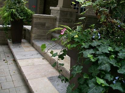 Natural stone front entrance walkway