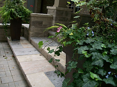 Natural stone front entrance walkway