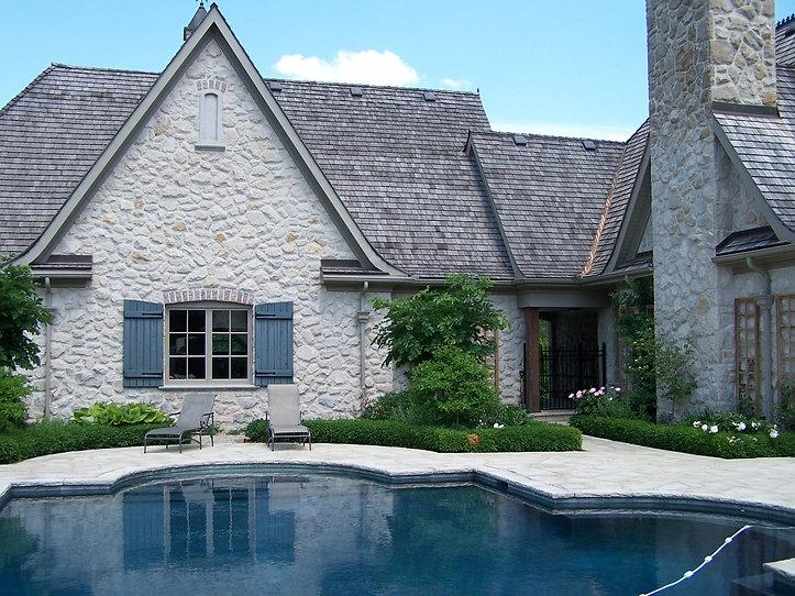 Natural Stone Patio, Pool, Gardens, Plants