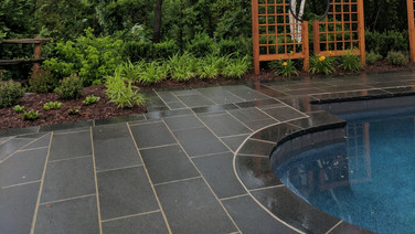 Custom stone work around pool