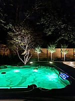 Landcape Lighting around gardens, retaining walls and hot tub.