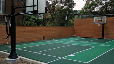 Full size back yard basketball court