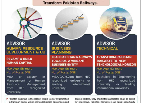 Job Opportunities for Professionals in M/o Railways Pakistan