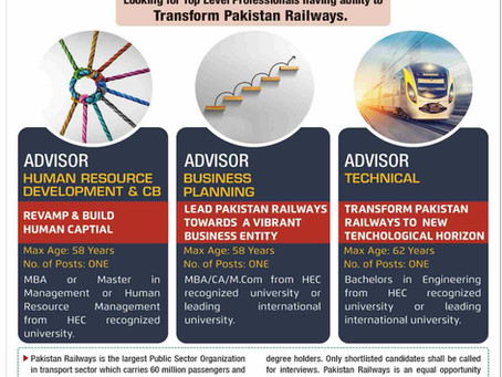 Job Opportunities for Professionals in M/o Railways Pakistan