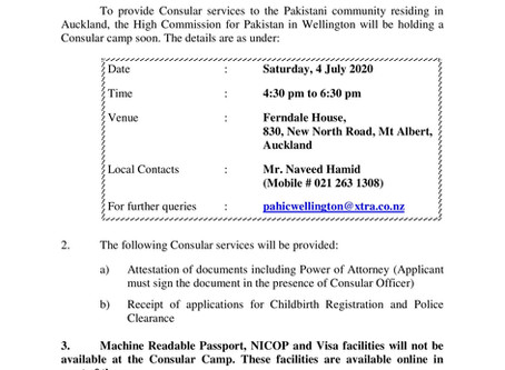 Consular Services Camp in Auckland on 4 July 2020