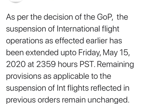 Extension in Suspension of Flight Operations till 15 May 2020
