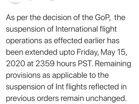 Extension in Suspension of Flight Operations till 15 May 2020